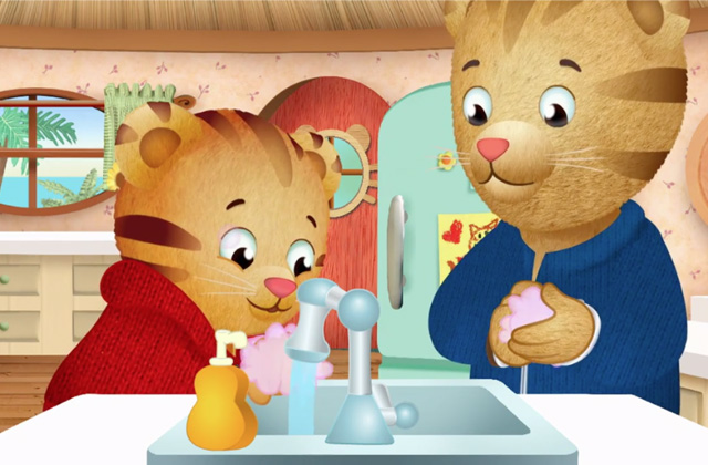 Daniel Tiger washing hands