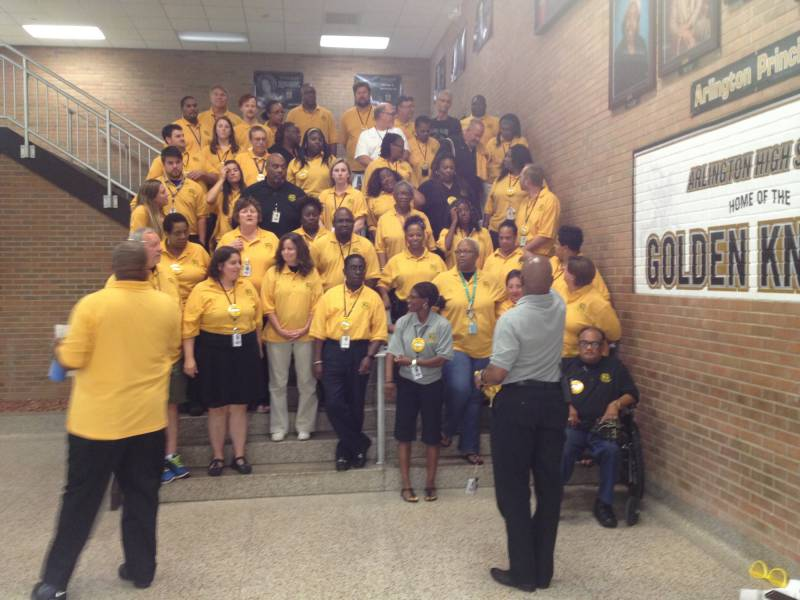 Arlington staff meet for the first time on July 31, 2015, days before the reopening for the 2015-16 school year. | By Eric Weddle/WFYI News
