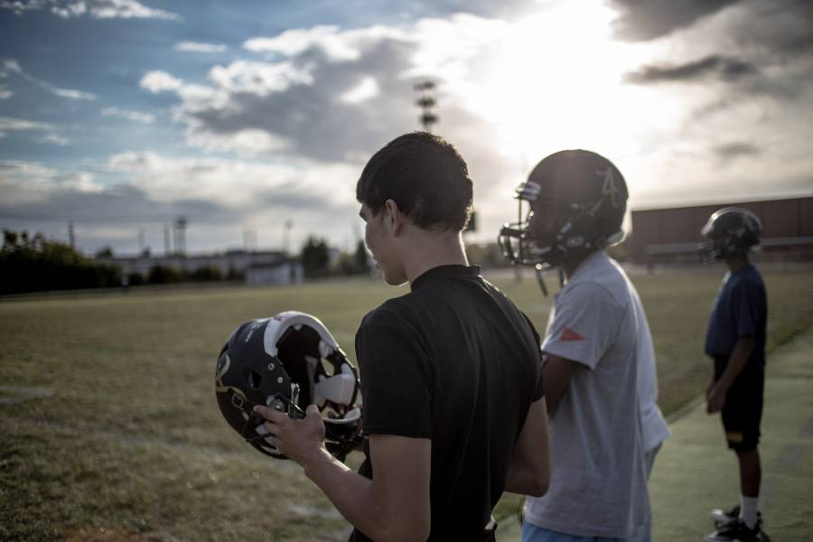Justin during an October 2015 football practice. | By Brian Paul for WFYI News.