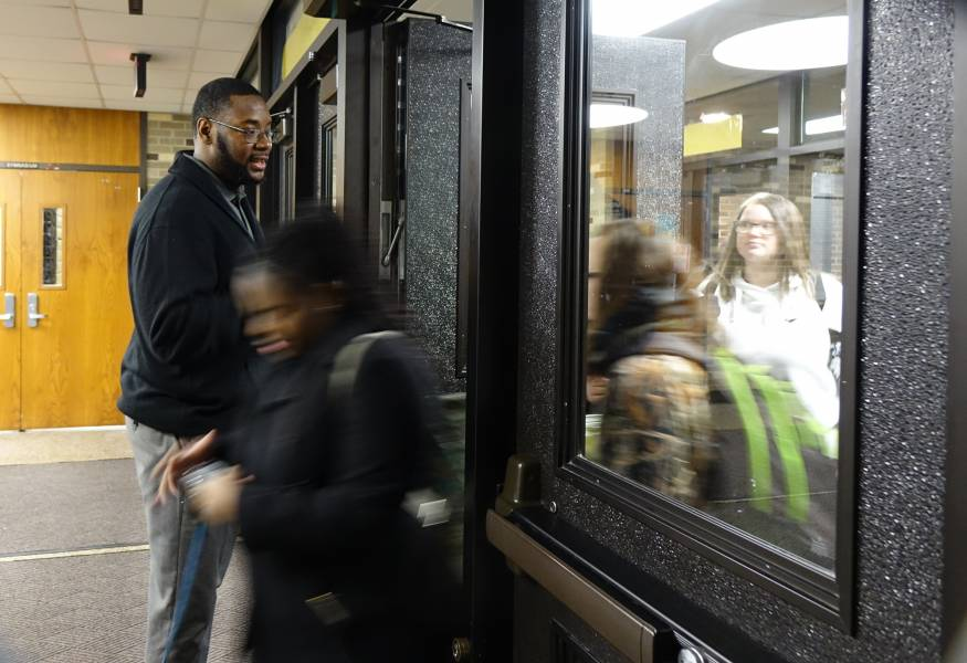 Lloyd Knight became principal of Howe Community High School in summer of 2017. We try to make sure students get at least three greetings before the state of every academic day, Knight says on Monday, January 14, 2019. | By Eric Weddle/WFYI