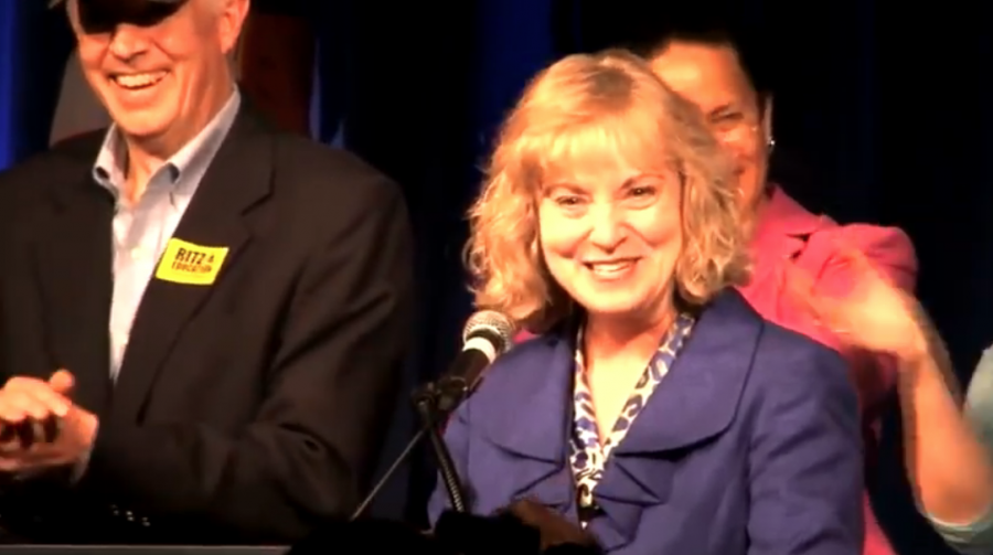 Indiana State Superintendent of Public Instruction-elect Glenda Ritz gives an acceptance speech on Election Day, Nov. 6, 2012. | WTIU
