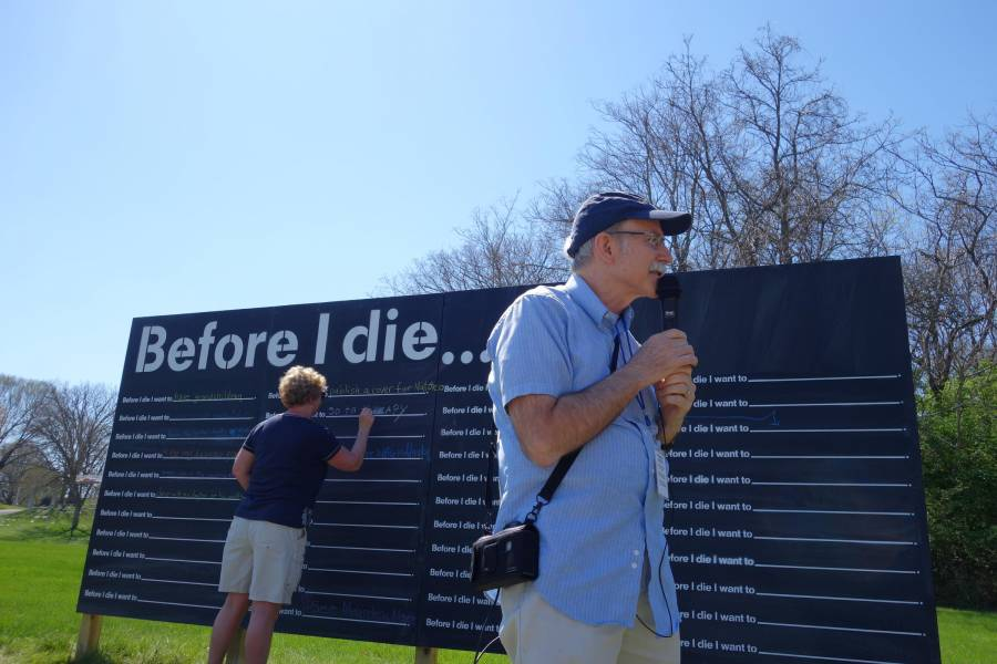Tom Davis, 62, starts his tour of Crown Hill Cemetery at the Before I Die Wall. Davis suffered a heart attack on March 22.