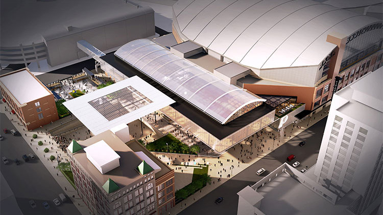 This rendering provided by the Indiana Pacers, shows renovations and expansion of the NBA basketball team's downtown arena in Indianapolis. - Indiana Pacers