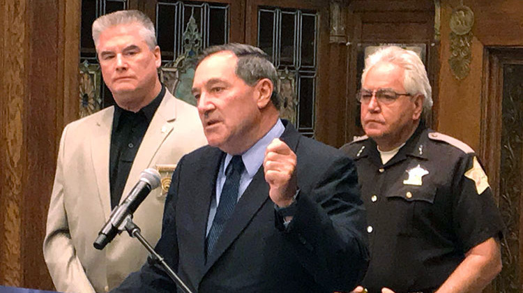 Sen. Joe Donnelly says it's important to balance enforcement and treatment in the fight against drug addiction. - Brandon Smith/IPB News