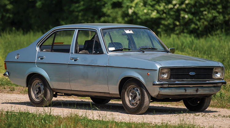 The 1976 Ford Escort 1100 GL Sedan once owned by St. Pope John Paul II is up for sale at the Auburn Cord Duesenberg Festival. - Courtesy RM Sotheby's