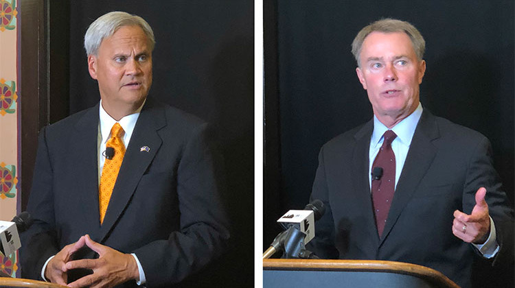 Republican challenger Jim Meritt (left) and incumbent Democrat Joe Hogsett (right) talked to the media seperately following the debate.. - Darian Benson/WFYI
