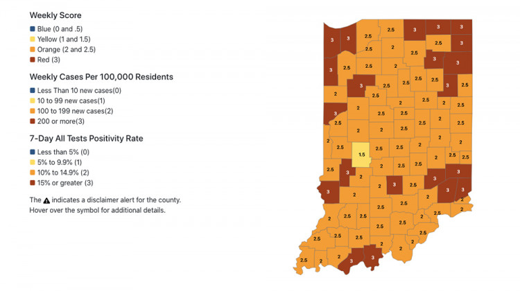 More Indiana Counties Listed At Highest Coronavirus Risk