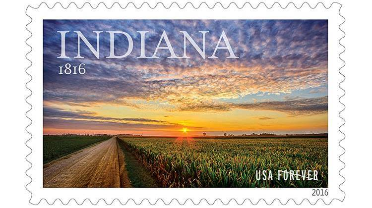 Indiana's bicentennial stamp, from a photography by Michael Matti.