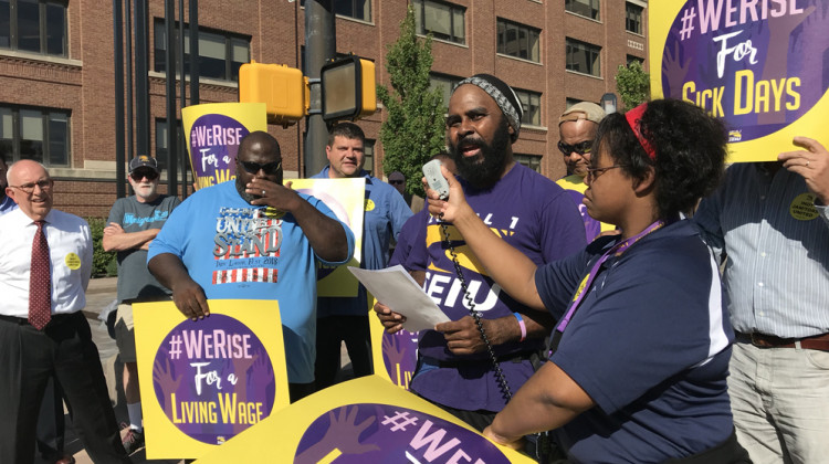 With the money he makes at Eli Lilly and one other job, Clarence Jones says he can't afford the down payment and monthly rent for an apartment in the city. - Drew Daudelin/WFYI