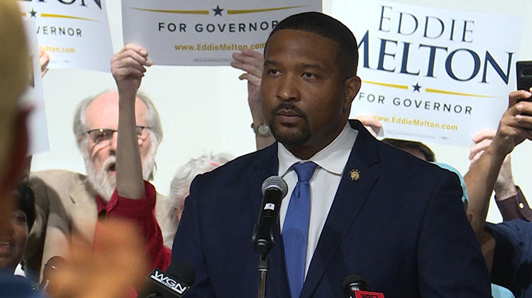 Sen. Eddie Melton (D-Gary) launched his gubernatorial bid in his hometown, with about 200 supporters cheering him on.  - Lauren Chapman/IPB News