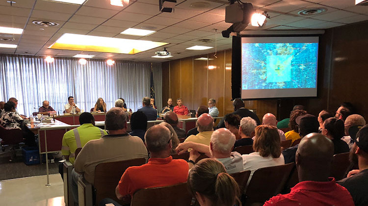 Rethink 65/70 presented its vision for Indianapolis' downtown Interstate System to a packed room.  - Sarah Panfil/WFYI