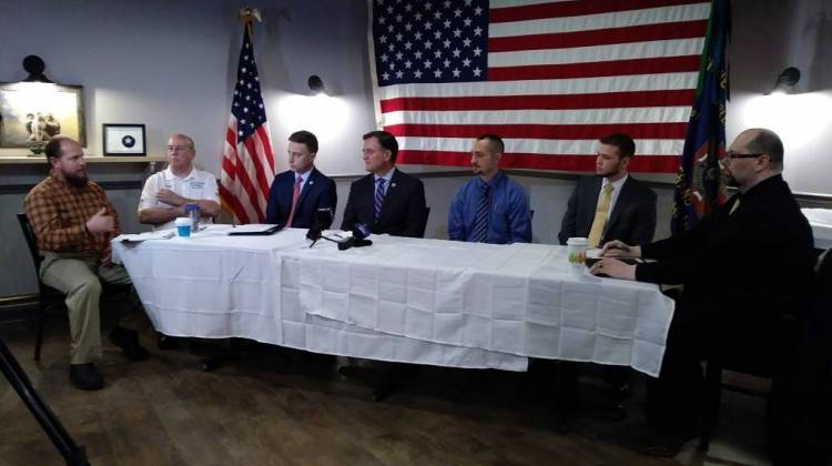 U.S. Rep. Luke Messer at a roundtable discussion with Hoosier veterans on the impact of ITT Tech's closure. - Lauren Chapman/IPB News