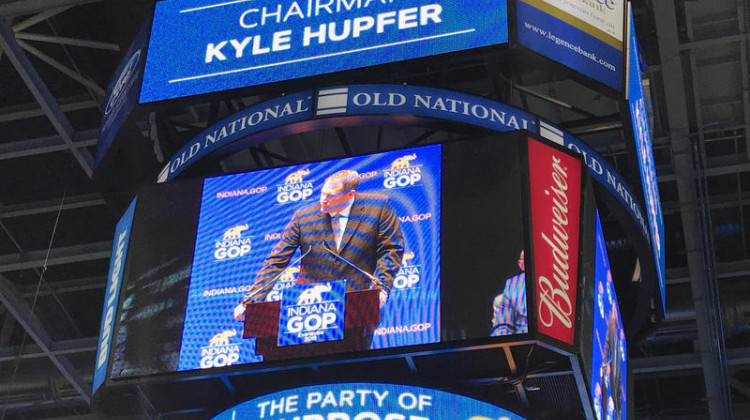 The video board at Evansville's Ford Center shows Indiana Republican Party Chair Kyle Hupfer as he speaks to his party's convention in 2018.  - FILE PHOTO: Brandon Smith/IPB News