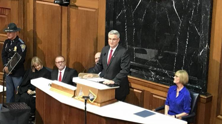 Gov. Eric Holcomb (R-Ind.) delivers the 2018 State of the State address from the Indiana House Chamber. - Brandon Smith/IPB News