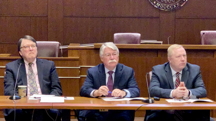 Former Indiana Chief Justice Randall Shepard, former Attorney General Greg Zoeller and Indiana Bar Foundation executive director Chuck Dunlap at the unveiling of the 2019 Indiana Civic Health Index. - Brandon Smith/IPB News