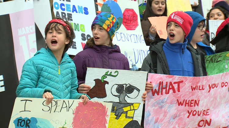 Kids at a youth climate march at the Indiana Statehouse in March.   - FILE PHOTO: Steve Burns/WTIU