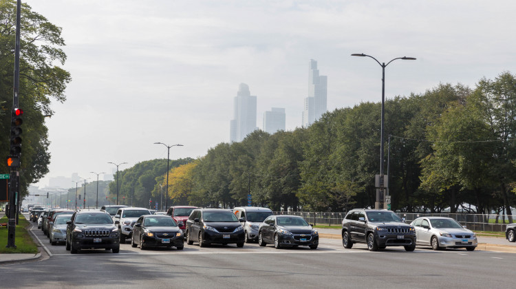 Chicago traffic at an intersection in 2019. The only four counties in Indiana that don't meet federal ozone standards are near major cities like Chicago. - Marco Verch/Flickr