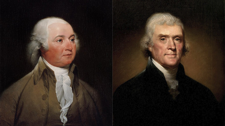 "In 1800 the Federalists nominated John Adams (left) for a second term; the ""Democratic-Republicans"" chose Thomas Jefferson (right)."