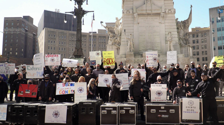 Live event and entertainment workers rally in Indianapolis. -  Alan Mbathi/IPB News