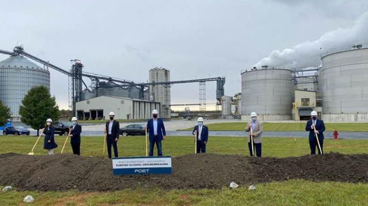 Officials break ground at POET Biorefining's Alexandria facility. The upgrades at the Indiana location will allow the company to produce ethanol that's FDA approved for hand sanitizer.  - Courtesy of POET
