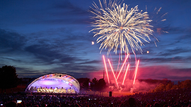 Fireworks explode as the Indianapolis Symphony Orchestra plays its annual patriotic celebration of America at Conner Prairie Amphitheater in Fishers, Sunday, July 2, 2017. - AP Photo/Michael Conroy