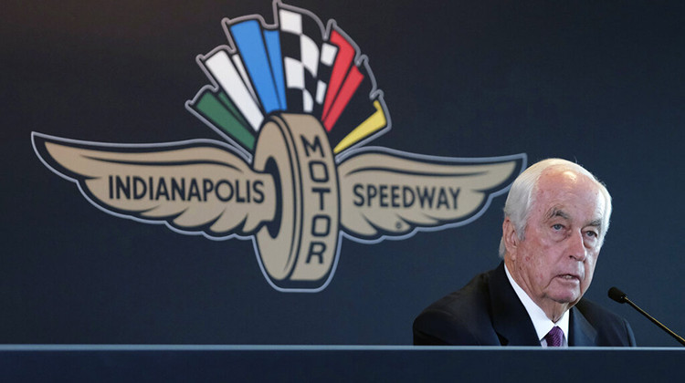 FILE - In this Monday, Nov. 4, 2019, file photo, Penske Corporation Chairman Roger Penske responds to a question during a press conference at Indianapolis Motor Speedway.  - AP Photo/AJ Mast, File