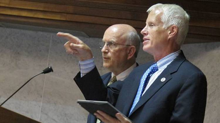 The state's leading education lawmakers want to extend Pearson's testing contract, to avoid rushing into a botched replacement for ISTEP+. In this 2013 file photo, House education committee chair Bob Behning (left) and Senate education committee chair Dennis Kruse attend a state panel. - Kyle Stokes/StateImpact Indiana
