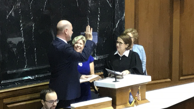 Chief Justice Loretta Rush swears in Brian Bosma as House Speaker on November 20, 2018. - Brandon Smith/IPB News