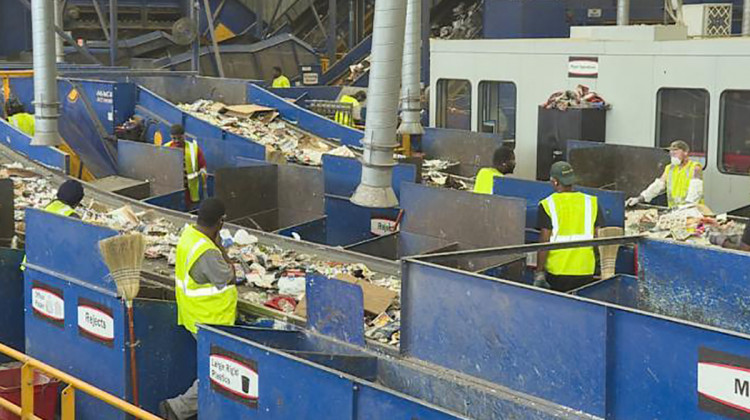 Experts say facilities where recycling is sorted and processed like the Rumpke Material Recovery Facility in Cincinnati, shown here, need funding to upgrade their technology and prevent contamination. - FILE PHOTO: Zach Herndon/WTIU