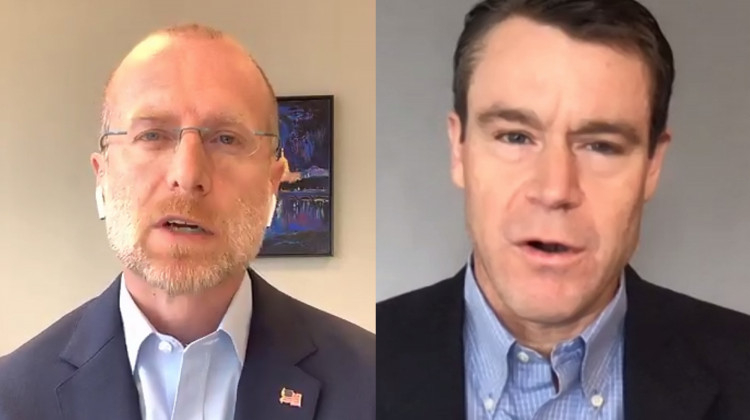 FCC Commissioner Brendan Carr, left, and U.S. Sen. Todd Young (R-Ind.) hold a video press conference to discuss expanded telehealth funding in the federal CARES Act.  - Screenshot of Zoom call