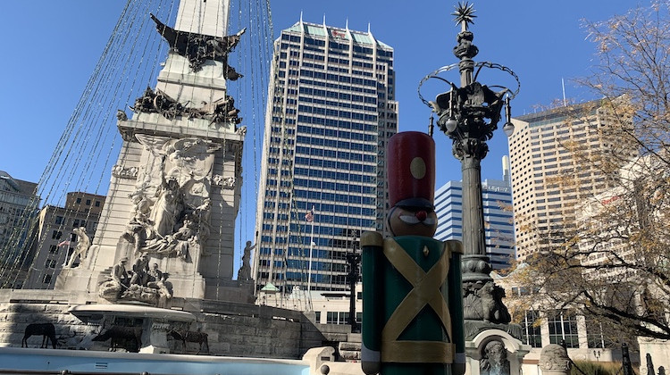 Holiday decorations are up around Monument Circle. - Robert Moscato-Goodpaster/WFYI