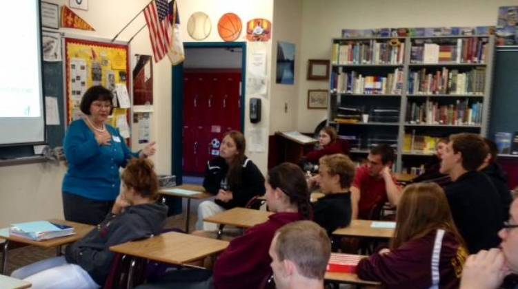 marion county clerk beth white is visiting area schools with a