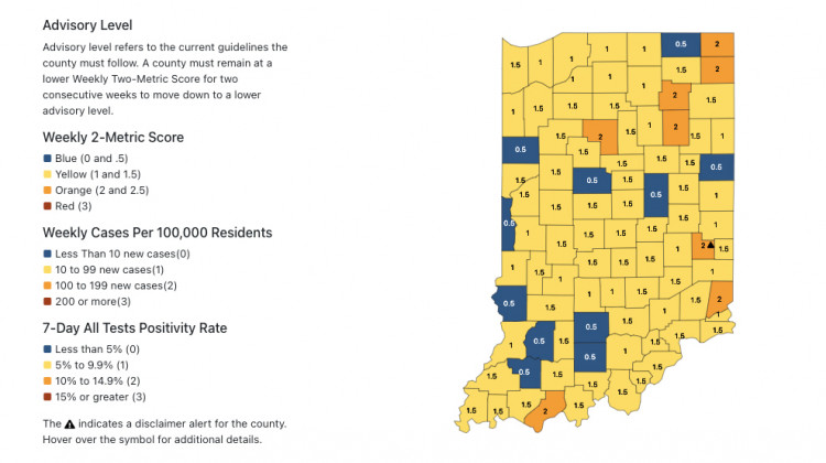 No Indiana Counties Marked High Risk For COVID-19 Spread