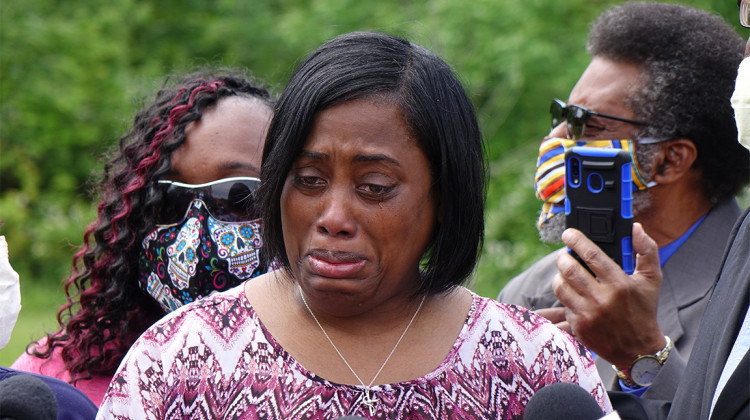 "Demetree Wynn, mother of Dreasjon ""Sean"" Reed, speaks during a news conference, Wednesday, June 3, 2020, in near the site where  Reed was killed, at West 62nd Street and North Michigan Road in Indianapolis.  - Eric Weddle/WFYI News"