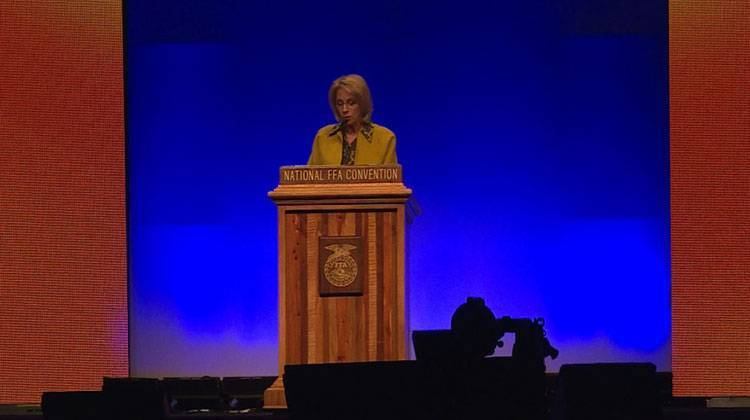 DeVos spoke to thousands of students at the National FFA convention in Indianapolis on Friday, Oct. 27. - James Vavrek/WTIU