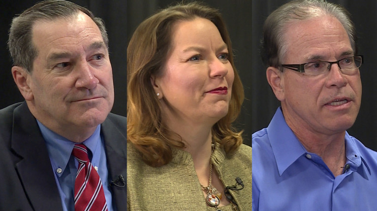 Indiana's U.S. Senate candidates (from left to right) Democrat Joe Donnelly, Libertarian Lucy Brenton, and Republican Mike Braun. - WFIU-WTIU