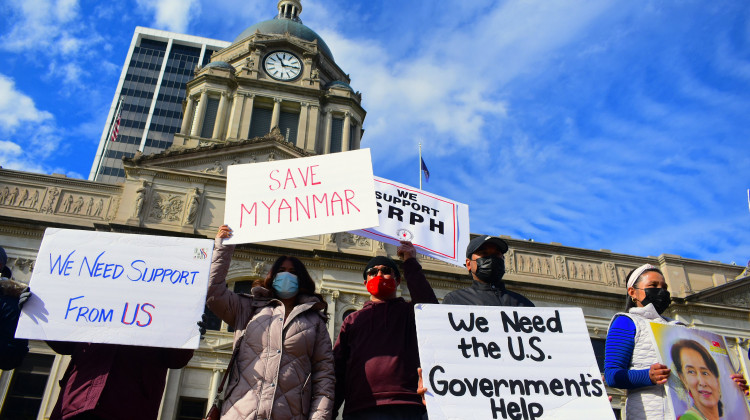 Protesters In Fort Wayne Decry Myanmar Military Coup, Demand U.S. Action