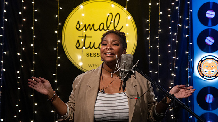 Okara Imani performs in WFYI's Small Studio. - Scott McAlister/WFYI