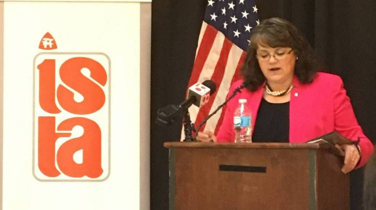 Indiana State Teacher's Association president Teresa Meredith lays out the union's legislative priorities. One of them includes a new program to help teachers deal with student trauma.  - Claire McInerny/IPB