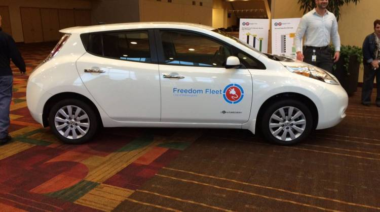 Mayor Greg Ballard says Indianapolis will add 425 pure electric or plug-in hybrid vehicles to its municipal fleet by 2025. - Christopher Ayers/WFYI
