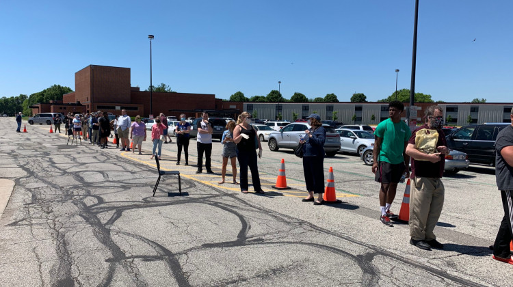 Polling stations across Marion County saw long lines Tuesday. - Jill Sheridan/WFYI