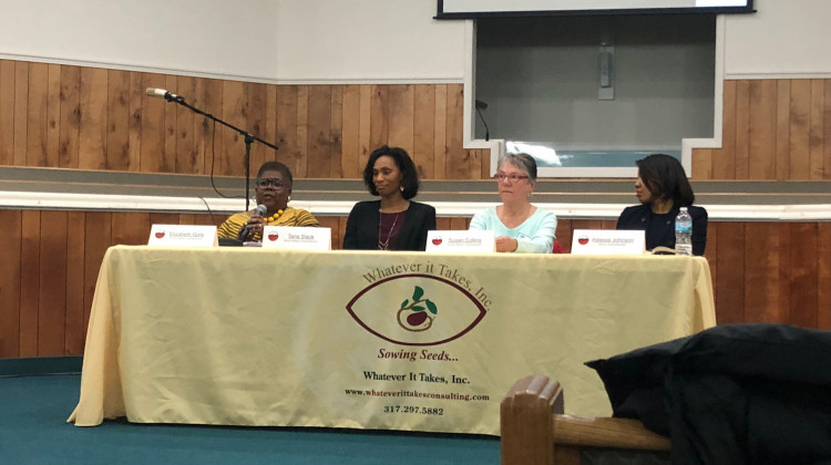 Left to right, commissioner Elizabeth Gore, Taria Slack, Susan Collins, and interim Superintendent Aleesia Johnson spoke at the public meeting. - Carter Barrett/WFYI