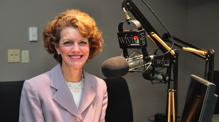 Jill Ditmire in the WFYI radio studio.  - Aundrea Hart/WFYI
