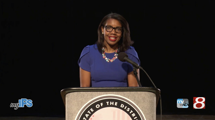IPS Superintendent Aleesia Johnson speaks at at Crispus Attucks High School for a live stream of the state of the district address broadcast Wednesday, Oct. 28, 2020. - Source: YouTube