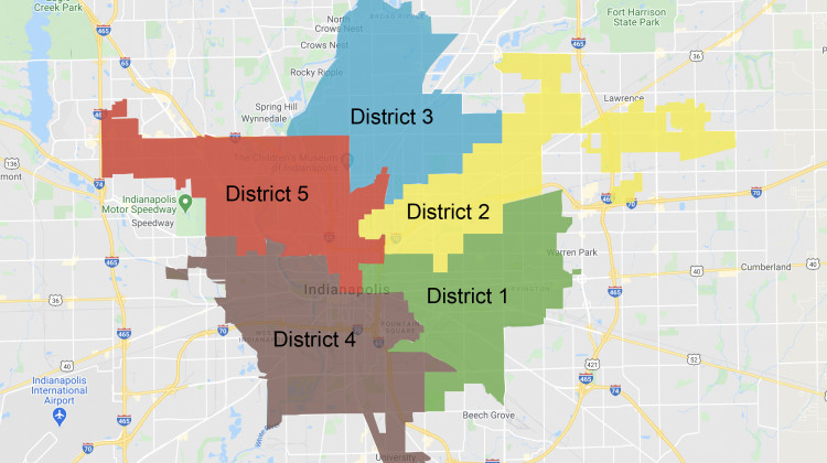 The districts of the Indianapolis Public Schools Board of Commissioners in Marion County.  - Google Maps/WFYI News