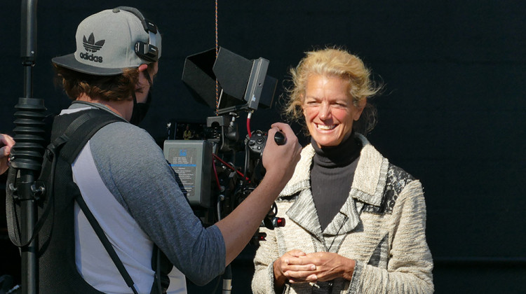 """Jill Ditmire records on location during production of """"Celebrate Naptown."""" - Clayton Taylor/WFYI"""