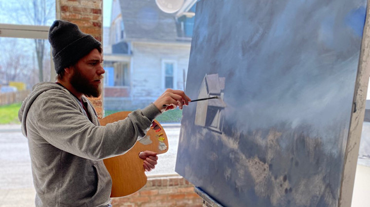 Indianapolis plein air painter Justin Vining spent the past year renovating a 10th Street building with his brother for a new gallery, with 100 new paintings for the grand opening. - Courtesy Justin Vining