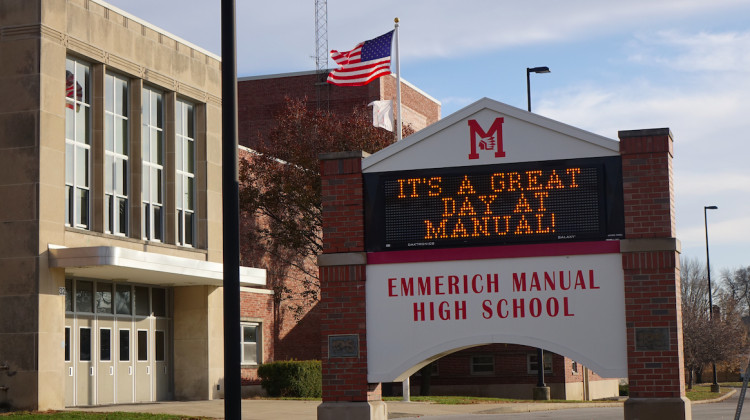 Since 2012 Emmerich Manual High School has been under a state takeover and operated by the private company Charter Schools USA. - By Eric Weddle/WFYI News
