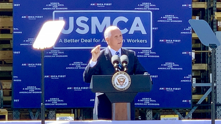 Vice President Mike Pence promotes the USMCA trade deal in Indianapolis. - Brandon Smith/IPB News