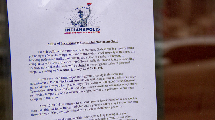 Indianapolis Gives Notice To Those Camping Around Monument Circle